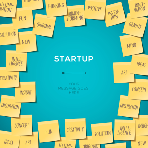 Start up Template with Business plan made of post it notes, vector Eps10 illustration.