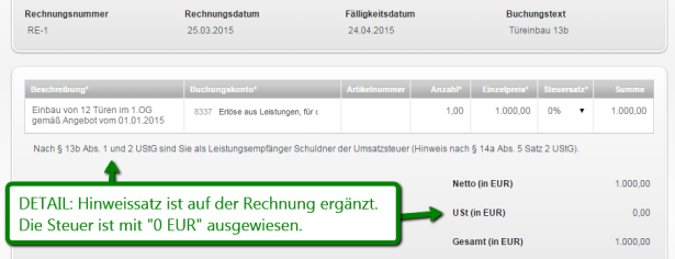 sage one update rechnungen nach 13 b ustg sage one. Black Bedroom Furniture Sets. Home Design Ideas